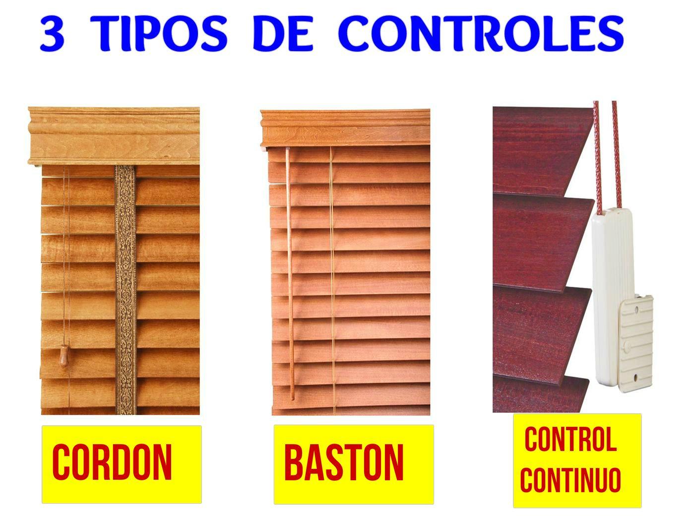 existen 3 tipos de control para operar e inclinar las tabletas de madera de su persiana - Persianas De Madera
